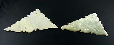 Pair of Rare ANTIQUE 19TH Century Chinese Carved Jade Floral Sew On Pieces