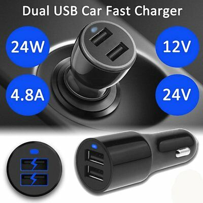 4.8A Dual USB Car Charger Fast Charge Adapter for iPhone for Samsung for LG DE