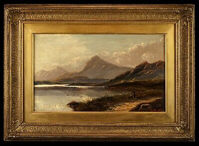 View of a Highland Loch | Signed 19th Century Landscape Oil Painting, Gilt Frame