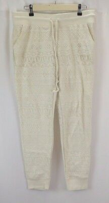 Mossimo Women's Joggers Large Cream White Lace with Pockets Sweatpants