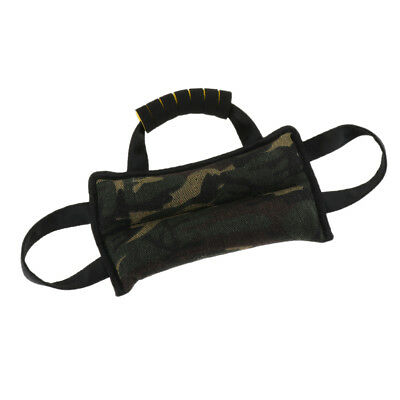 Durable Dog Training Bite Tug Toy with 3 Handles Canvas Bite Pillow Toy