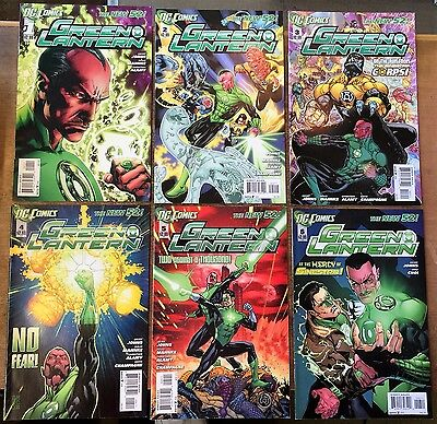 Green Lantern #1-6. Dc New 52 2011. First Print.  Vf/nm Condition