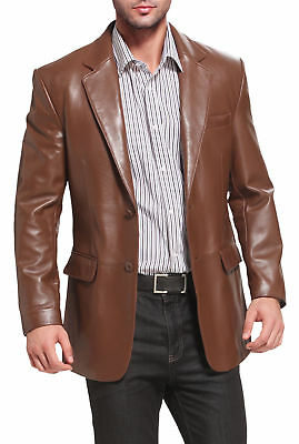 Men's Genuine Lambskin Real Leather Blazer Jacket Soft TWO BUTTON Stylish Coat