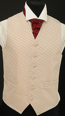 W-84. Men's beige/grey/silver diamond waistcoat - wedding, dress, suit, formal
