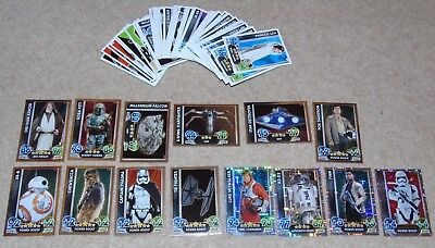 79 Star Wars Force Attax Trading Cards Topps 2015 R2D2 Luke Skywalker Hologram