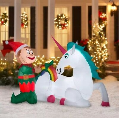 Holiday 2018 Elf w/ Unicorn Inflatable 7FT Airblown Yard Decoration