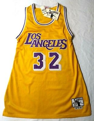 23aa944a5c6 Authentic LA Lakers Magic Johnson #32 Jersey Throwback NBA Blacktop Edition  XL