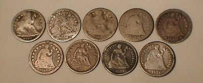 Lot of 9 Seated Liberty Half Dime US Silver Coins Dated 1838 - 1870 Estate Find