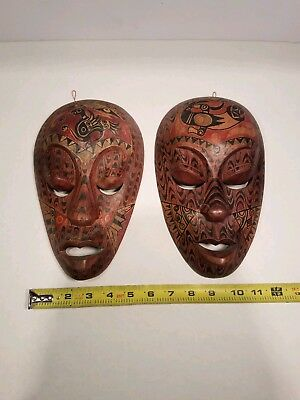 """Wood Mask Art African Tribal Hand Crafted Wall Hang Decor 10"""" Made In Indonesia"""