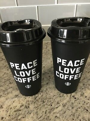 NEW 2 Starbucks 2018 PEACE LOVE COFFEE Black Reusable 16oz Cup W/ Lid Plastic