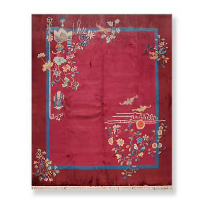 """8'4"""" x 9'5"""" Vintage Hand Knotted Chinese Art Deco 100% Wool Oriental Area rug"""