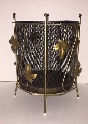 Vintage Mid Century Gold Metal Wire Leaf Black Mesh Trash Can Waste Basket