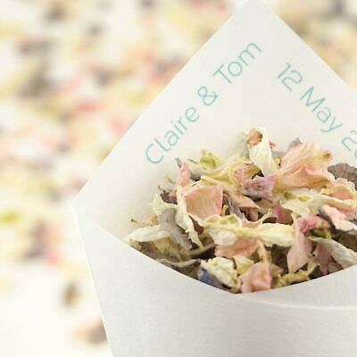 Personalised Handcrafted Elegance Wedding Confetti Cones 100% Recycled