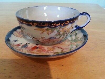 Beautiful Vintage Japanese Hand Painted Fine Eggshell Tea Cup And Saucer