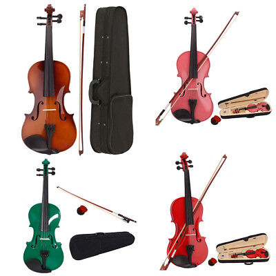 New Student 4/4 Full Size Natural Acoustic Violin Fiddle w/ Case Bow Rosin Wood