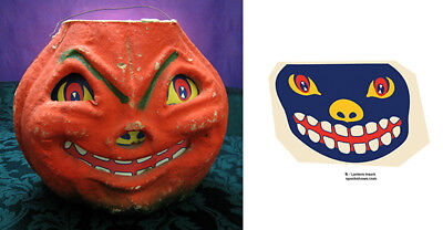 Glassine Paper Replacement Face - Smiling  Halloween Jol Paper Mache Lantern #b