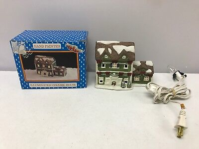 Vintage Liberty Bell Christmas Hand Painted Ceramic Illuminated Ceramic House !!