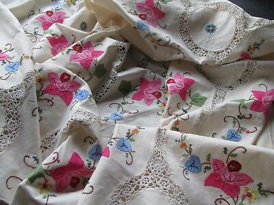 Beautiful Vintage Hand Embroidered-Applique-Crochet Lace Tablecloth/Bed Cover