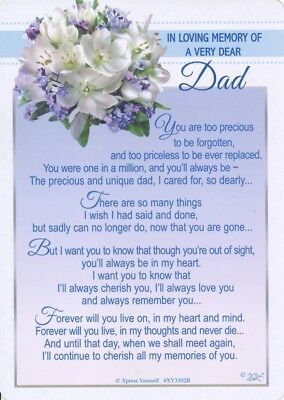 Grave Card IN LOVING MEMORY OF A VERY DEAR DAD Graveside Verse Memorial Funeral