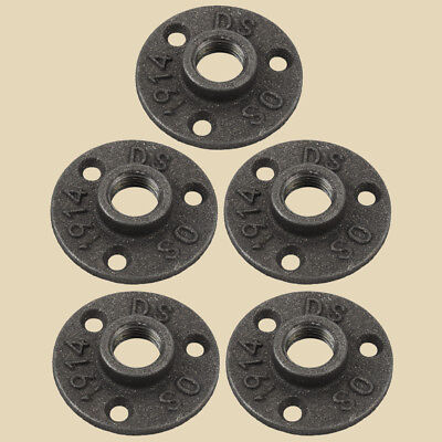 5Pack -1/2 INCH BLACK MALLEABLE IRON PIPE FLOOR FLANGE FITTINGS PLUMBING