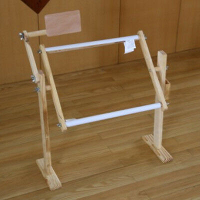 9CT Cross Stitch Frame Tabletop Floor Stand Wood Embroidery Tapestry Hoop Craft