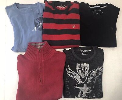 Lot Of 5 American Eagle Long Sleeve Shirts/sweaters Size Large Mens