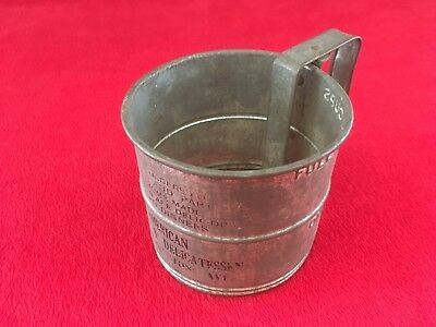Vintage Tin 2 Cup Flour Sifter Advertising Piece American Bakery & Delicatessen