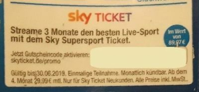 Sky Ticket Supersport 3 Mon. Gutschein Bundesliga CL DFB Pok. Wert 90 Euro Sport