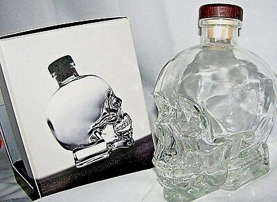 "CLEAR EMPTY  HAND BLOW GLASS SCULL  AS BOTTEL - ""crystal head"" 0.750ml  VODKA"