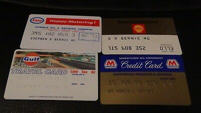 Lot of 4 Vintage 1970's Gas Station Credit Cards Shell, Esso, Marathon, Gulf