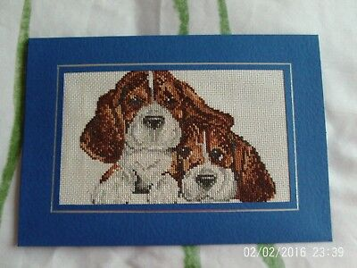 Ex large completed cross stitch card basset hound