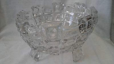 Large Art Deco style clear pressed glass fruit bowl with four legs