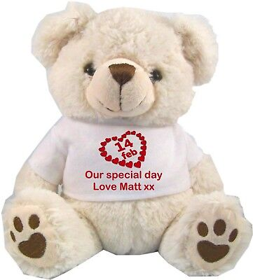 """Personalised White Teddy Bear 25Cm/10"""" Sitting Valentines Day Anniversary Gifts"""