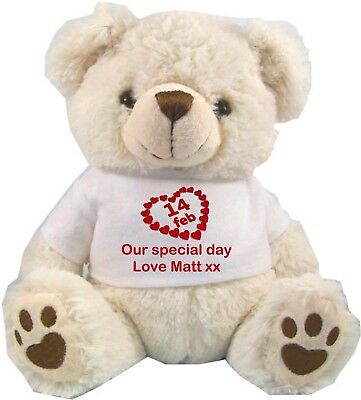 """Personalised White Teddy Bear 9"""" Sitting Valentines Day Anniversary Gifts"""