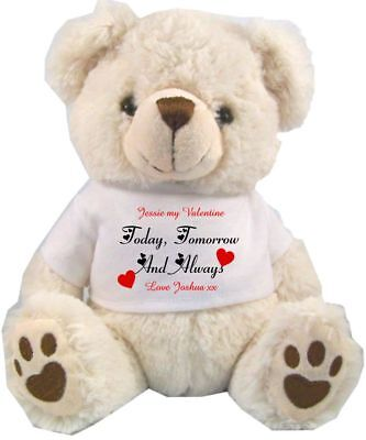 """Personalised Teddy Bear White 25Cm/10"""" Sitting  Today & Always Valentines Day"""