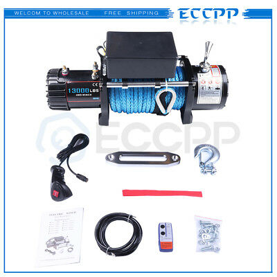 12V 13000LBS Electric Winch Towing Truck Synthetic Rope Off Road For 81-18 Jeep