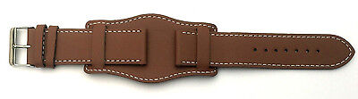 22mm TAN BROWN Genuine Quality LEATHER Military Style Cuff Watch Strap and Pins