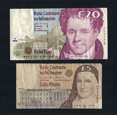 Set Of Old Irish Series C Banknotes 5 Pounds and 20 Pounds 1999