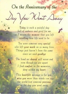 Grave Card ANNIVERSARY OF THE DAY YOU WENT AWAY Graveside Memorial Keepsake