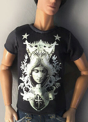 male outfit/clothes t-shirt for Fashion Royalty FR (black&white)