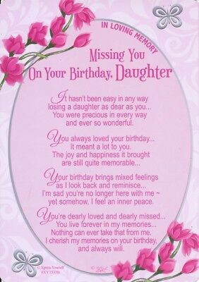 Grave Card MISSING YOU ON YOUR BIRTHDAY DAUGHTER Memory Verse Memorial Graveside