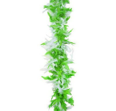 St. Patricks Day PACK OF 12 Green & White Feather 6' Boa 60g ~NEW~