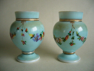 Pair Of Antique Victorian Enameled Blue Opaline Glass Vases