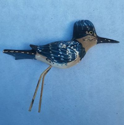 Vintage HP WOOD CARVED Last Belted KINGFISHER BIRD Over 30 yrs Old!