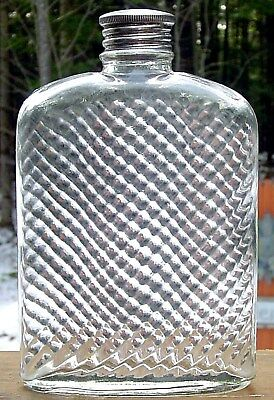 Old Vintage Whiskey Flask embossed UNIVERSAL PAT'D FEB 8 1927 Shiny Cap Curved