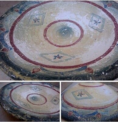 Rare Antique Byzantine Pottery Dish Hand Drawing Ancient Flowers Motifs