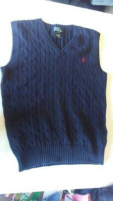 Boy's Large 14-16 Polo Ralph Lauren Navy Blue Sweater Vest
