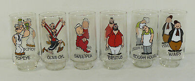 NEW VTG Complete Set Of 6 Glasses 1975 Coca Cola Kollect-A-Set Series Popeye