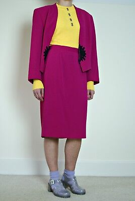 Vintage '80s Valentino Miss V Suit | sz8 | fuchsia pink | wool suit | Made in IT