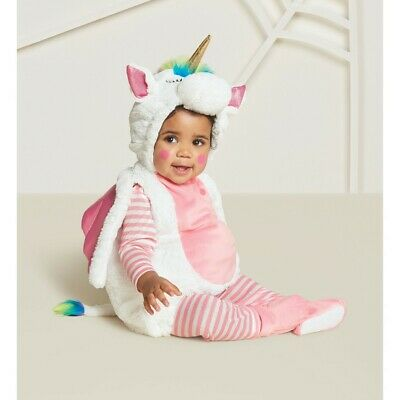 Hyde and Eek 0-6 Month infant Halloween costume plush Unicorn hooded jumpsuit